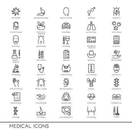 Vector lijn iconen met medische symbolen. Medische beroepen. Line iconen van Narcologie, cosmetica, verloskunde, medische testen en andere.