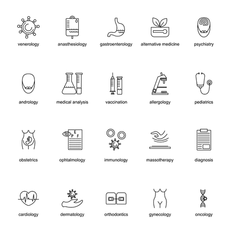 immunology: Set of icons for different medical professions. Thin line style. It can be used as logo, pictogram, icon, infographic element. Vector Illustration.