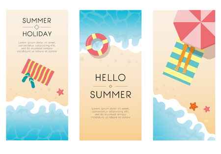 Set of summer travel fliers with beach items and wave. Vector illustration
