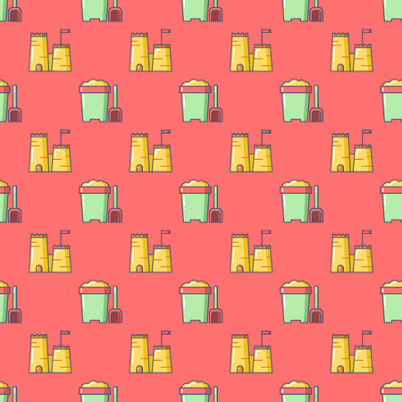 sand castle: Seamless patterns with beach bucket and sand castle. Tourism and summer objects and equipments. Can be used for wallpapers, web page backgrounds. For birthday, anniversary, party invitations, scrapbooking, T-shirt, cards.