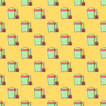 anniversary beach: Seamless patterns with beach bucket. Tourism and summer objects and equipments. Can be used for wallpapers, web page backgrounds. For birthday, anniversary, party invitations, scrapbooking, T-shirt, cards.