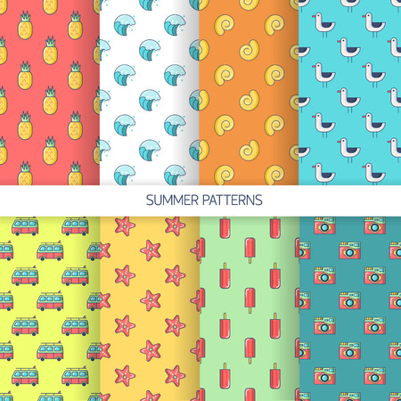 mini bus: Set seamless patterns with tourism and summer objects and equipments - pineapple, wave, shell , gull, Mini Bus , starfish , ice cream , camera. Can be used for wallpapers, web page backgrounds. For birthday, anniversary, party invitations, scrapbooking, T