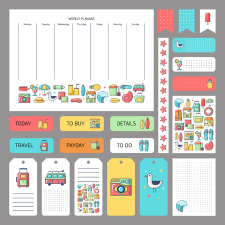 Cute summer icons and concept. Stickers, tags templates for organized planner. Template for planner, scrapbooking, wrapping, wedding invitation, notebooks, diary.