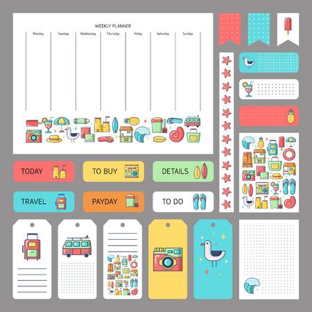 icônes d'été mignon et le concept. Autocollants, étiquettes modèles pour planificateur organisé. Modèle de planificateur, scrapbooking, emballage, invitation de mariage, cahiers, agenda.