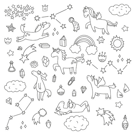 Cute unicorn and pony collection with magic items, rainbow, fairy wings, crystals, clouds, potion. Hand drawn line style. Vector doodles illustrations. Illustration