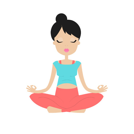 pregnancy yoga: A pregnant young woman practicing yoga in lotus position. Isolated on white background. Illustration