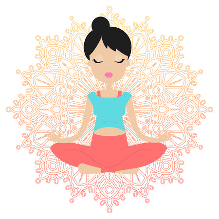 pregnancy exercise: A pregnant young woman practicing yoga in lotus position. Mandala background.