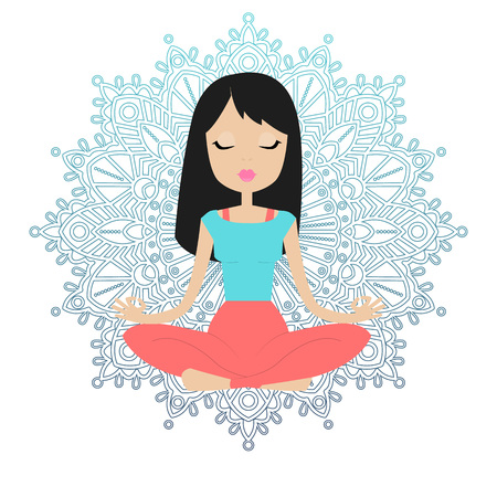 nirvana: Young beautiful girl sitting in the lotus position and meditates. mandala background. Illustration