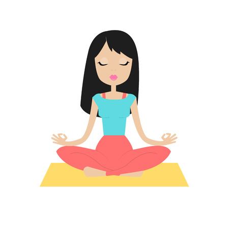 ashram: Young beautiful girl sitting in the lotus position and meditates. Isolated on white background.