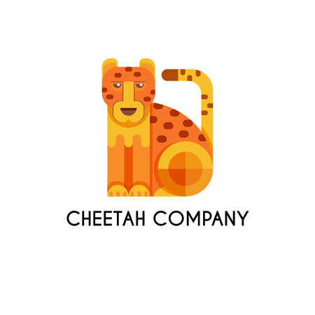zoological: Cheetah made in unique geometrical flat style. Flat design template animal  . Isolated icons for your design.