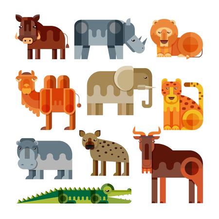 기하학적 인 평면 아프리카 동물입니다. 사자, 치타, 하이에나, 혹 멧돼지, 코끼리, 낙타, 악어, 하마, 코뿔소, wildebeest. 격리 된 다른 아프리카 동물의