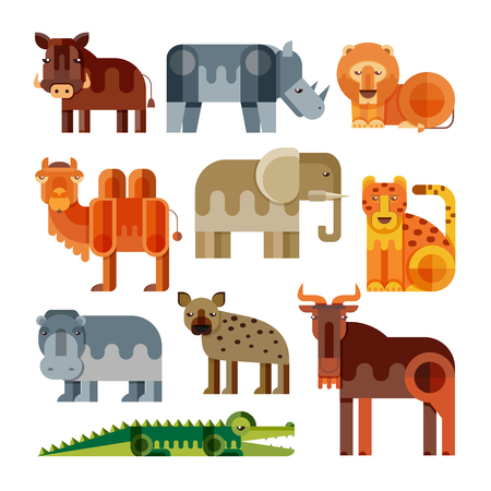 Geometric flat Africa animals. Lion, cheetah, hyena, warthog, elephant, camel, crocodile, hippo, rhino, wildebeest. Vector set of different african animals isolated.