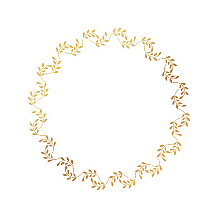 Round gold border frame with doodle leaves. Can be used for decoration and design photo frame, menu, card, scrapbook, album. Vector Illustration Illustration