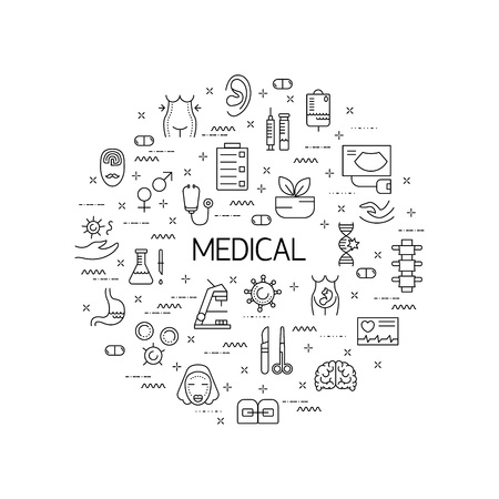oncology: Illustration of symbols medical specialization. Design element. Medical concept made in line style vector. Isolated illustration for medical poster and banner.