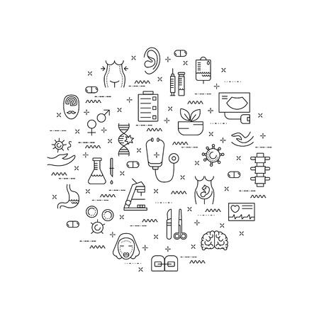 Illustration of symbols medical specialization. Design element. Medical concept made in line style vector. Isolated illustration for medical poster and banner. Vetores