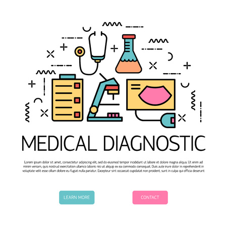 Illustration of symbols medical specialization. Design element. Medical concept made in line style vector. Isolated illustration for medical poster and banner.