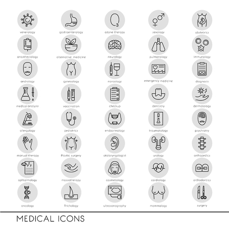 midwifery: Vector line icons with medical symbols specialization. Medical professions. Line icons of narcology, cosmetology, obstetrics, medical testing and other. Illustration