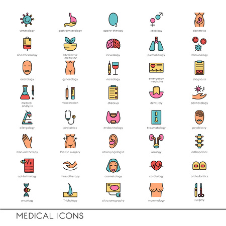 medical testing: Vector flat line icons with medical symbols specialization. Medical professions. Line icons of narcology, cosmetology, obstetrics, medical testing and other.