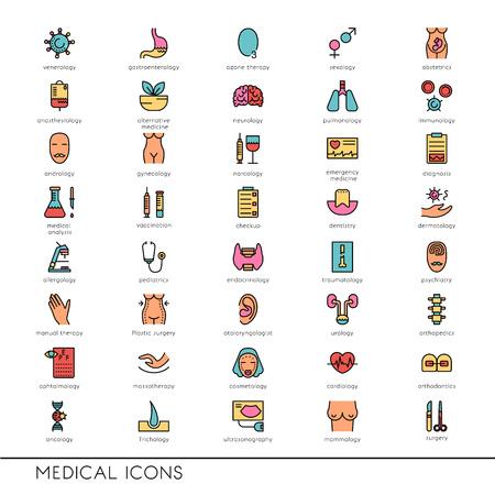 Vector los iconos de línea plana con símbolos médicos especialización. profesiones médicas. iconos de líneas de narcología, cosmetología, obstetricia, pruebas médicas y otros. Foto de archivo - 57612774