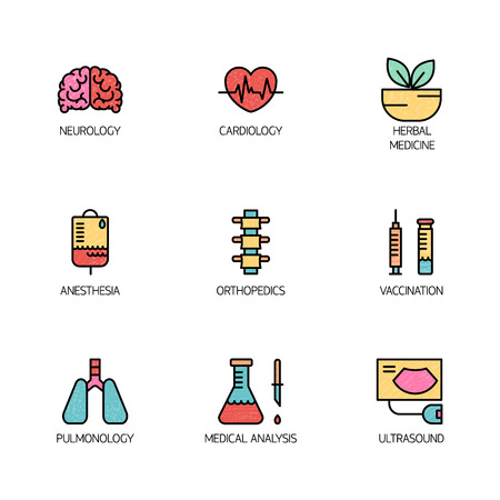 lab test: Flat line style  template with medical symbols specialization. Isolated on background.  your business. Clean and minimalistic symbol. Medicine concept.