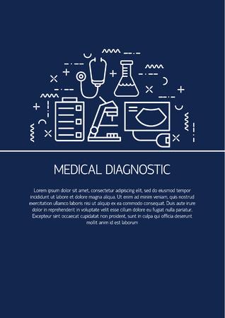 medical center: Medical center flyer or brochure template. Modern flat line design illustration concepts with different symbols medical research.