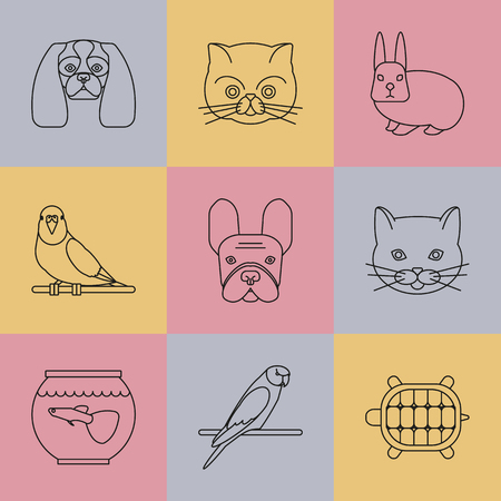 fish exhibition: Pets shop icons. Thin lines icon style. It can be used   pictogram, icon, infographic element. Vector Illustration.