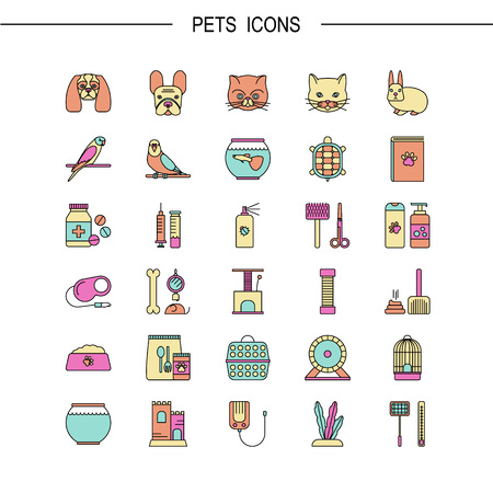 toy toilet bowl: Vector flat line icons with pet shop symbols. Line icons of dog, cat, fish, parrot and other.