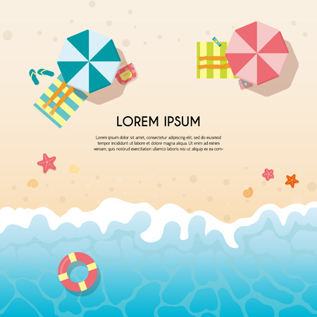 Set of summer travel flyers with beach items and wave. Top view. Vector illustration Illustration