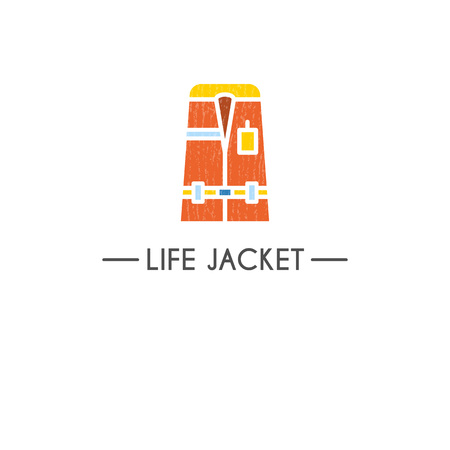life style: Flat style  template with life jacket emblems. Isolated on background.   your business. Isolated on background.