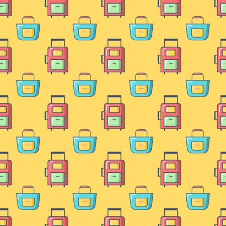 anniversary beach: Seamless patterns with suitcase and beach bag. Tourism and summer objects and equipments. Can be used for wallpapers, web page backgrounds. For birthday, anniversary, party invitations, scrapbooking, T-shirt, cards.