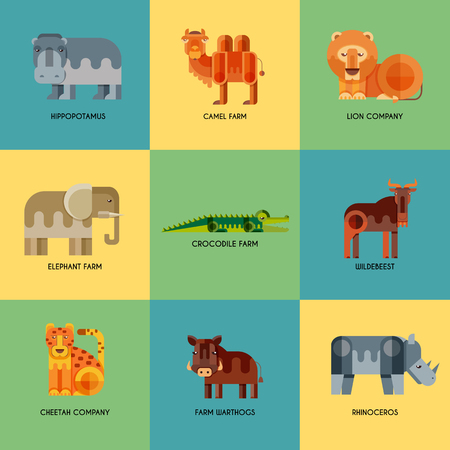 african wildebeest: Vector set of different geometric flat african animals icons. Lion, cheetah, hyena, warthog, elephant, camel, crocodile, hippo, rhino, wildebeest. Animals to infographic design. Illustration