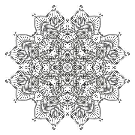 Malvorlage mit Mandala. Ethnische dekorative Elemente. Malbuch für Erwachsene und ältere Kinder. Skizzieren Vektor-Illustration.