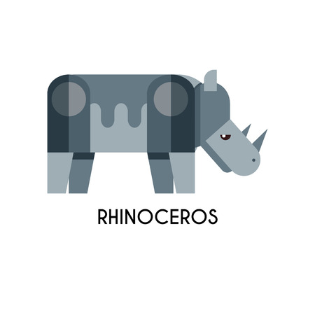the unique: Rhino made in unique geometrical flat style. Illustration