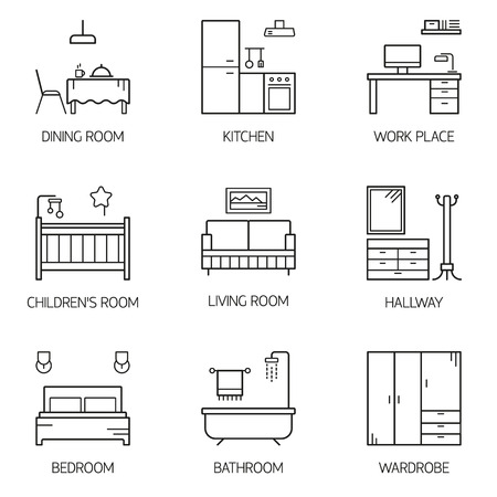 Set of line vector interior design room types icons. Linear style illustrations. Living room, kitchen, bedroom, children's room, bathroom, dining room, work place, hallway, wardrobe.