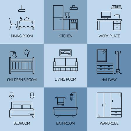 Set of line vector interior design room types icons. Linear style illustrations. Living room, kitchen, bedroom, childrens room, bathroom, dining room, work place, hallway, wardrobe.