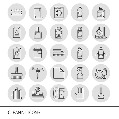 wipe: Vector line cleaning service icon set, emblems. Cleaning items - vacuum cleaner, protective gloves, spray bottle, wipe, squeegee, sponge, bucket, mop, brush, duster and many more.