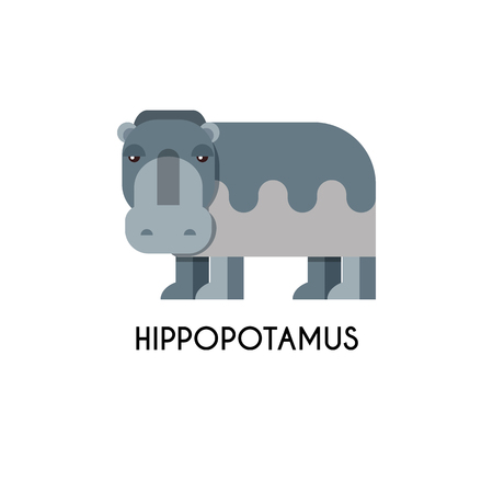 zoological: Hippo made in unique geometrical flat style. Flat design template animal
