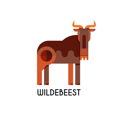 Wildebeest made in unique geometrical flat style. Flat design template animal