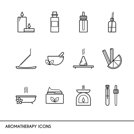 incense: Vector line icons with aromatherapy symbols. Line icons of incense, candles, oil burner, essential oil and other.