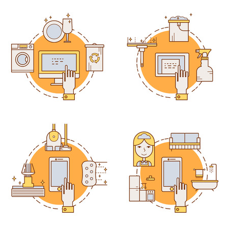 wiping: Illustration of symbols cleaning items icon. Cleaning service concept made in line style vector. Illustration for poster and header, banner, icons and other flat design web elements