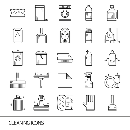 Vector line cleaning service icon set, emblems. Cleaning items - vacuum cleaner, protective gloves, spray bottle, wipe, squeegee, sponge, bucket, mop, brush, duster and many more.