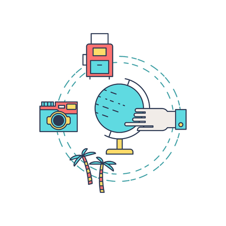 excursions: Illustration of symbols summer objects and surfing items. Summer concept made in line style vector. Illustration for poster and header, banner, icons and other flat design web elements