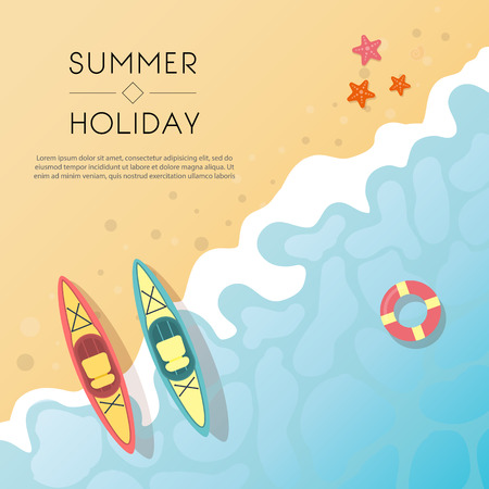 Set of summer travel flyers with beach items and wave. Top view. Vector illustration Stock Illustratie