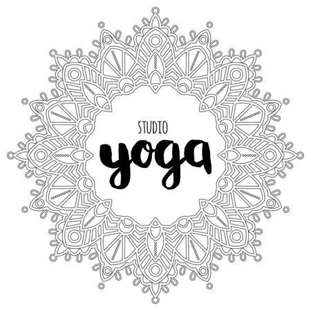 Vector yoga mandala line badges. Graphic design elements in outline style.