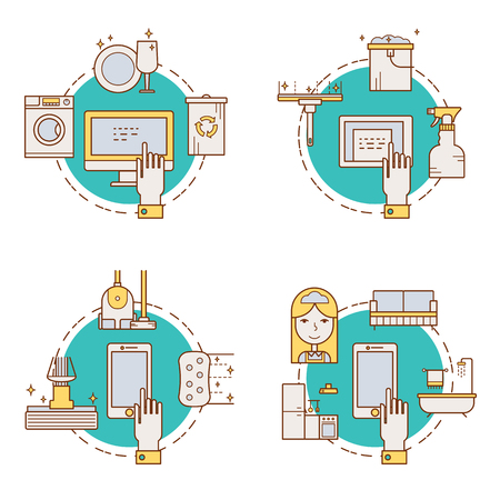 Illustration of symbols cleaning items icon. Cleaning service concept made in line style vector. Illustration for poster and header, banner, icons and other flat design web elements