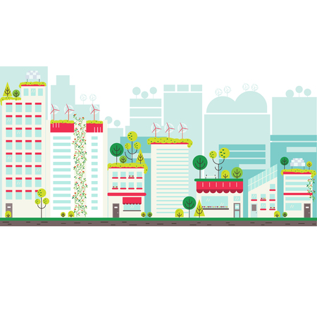 urban street: Flat design vector illustration with ecology city. Green city concept with eco icons. Green energy - green house, wind turbines, solar panels.