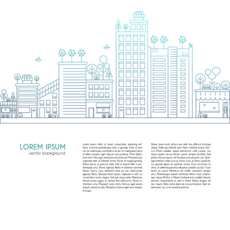 Line design vector illustration with ecology city. Green city concept with eco icons. Green energy - green house, wind turbines, solar panels.