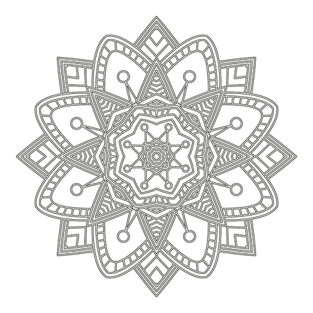 Coloring Page With Mandala Ethnic Decorative Elements Book For Adult And Older Children