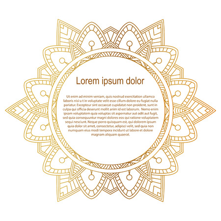 mixed marriage: Round gold border frame. Mandala ornament. Can be used for decoration and design photo frame, menu, card, scrapbook, album. Vector Illustration. White background. Illustration