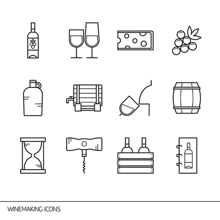 wine and cheese: Vector line icons with wine and winemaking symbols. Line icons of bottle of wine, cheese and barrel, jug, corkscrew, wine list and other.